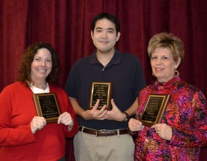 Wayne Community College recognized its employees of the year: Joanna Morrisette, Ken Jones, and Sandra Waddell (left to right).