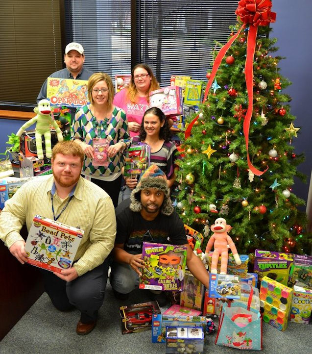 The Gamma Chi chapter of Phi Beta Lambda collected toys for the Me Fine Foundation to distribute to terminally ill children at Duke University Medical Center. With some of the donated items are (left to right): front – Advisor Tim Kennedy, Emory Gibson; center – Advisor Allison Sullivan, President Angela Cromer, and back – Robert Shafer and Vice President Ashley Hildebrand.