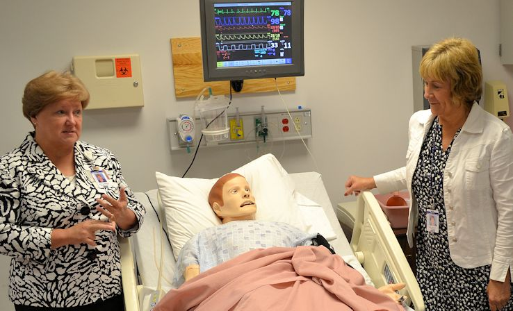 Allied Health and Public Services Division Chair Patty Pfeiffer (left) and Nursing Department Chair Sue Beaman during a recent tour of the college's nursing facilities.