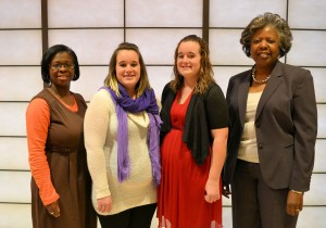 Wayne Community College Continuing Education Service Division Associate Vice President Renita Dawson (far left) and State Employees' Credit Union (SECU) Continuing Education Scholarship Program Administrator Maxine Cooper (far right) congratulate sisters Katelyn Deaver and Kandice Deaver (center, left and right) on the students' selection as the first recipients of the SECU scholarships designed to help meet the needs of North Carolina's unemployed and underemployed residents.