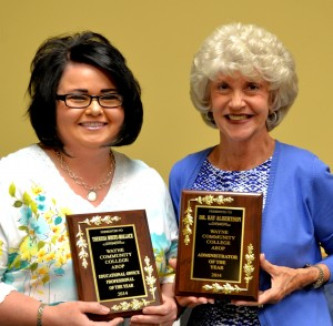 Wayne Community College Association of Educational Office Professionals recognized Theresa White-Wallace as its Educational Office Professional of the Year and Dr. Kay Albertson as its Administrator of the Year (left to right).