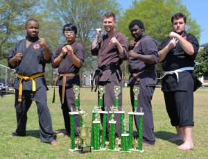 WCC Budo Club members bringing home honors from the 11th Annual Karate Madness Open Championships in Kinston were (l-r) Tony Sanders, Bumbi Lee, Coe Smith, Elijah Slater, and Zachery Rogers. Not pictured is Shaquan Oliver.