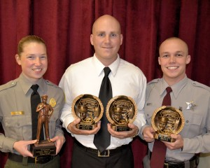 Graduating cadets honored during Wayne Community College's 63rd Basic Law Enforcement Training graduation ceremony are (left to right) Autumn Kahl, Valedictorian; Dustin S. d'Hemecourt, Top Gun Award and Leadership Award recipient, and Joshua A. Davis, Physical Fitness Award winner.