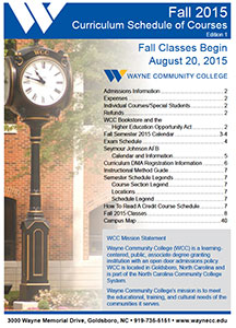 Fall 2015 Curriculum Schedule of Courses