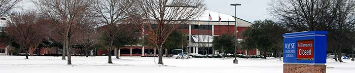 Photo of WCC during snowfall.