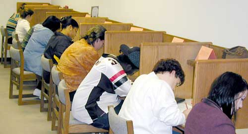 students in testing-center