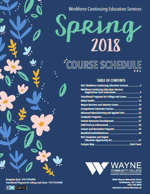 Workforce Contiuing Education Spring 2018 Schedule of Courses